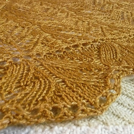 picture of a knitted shawl close up