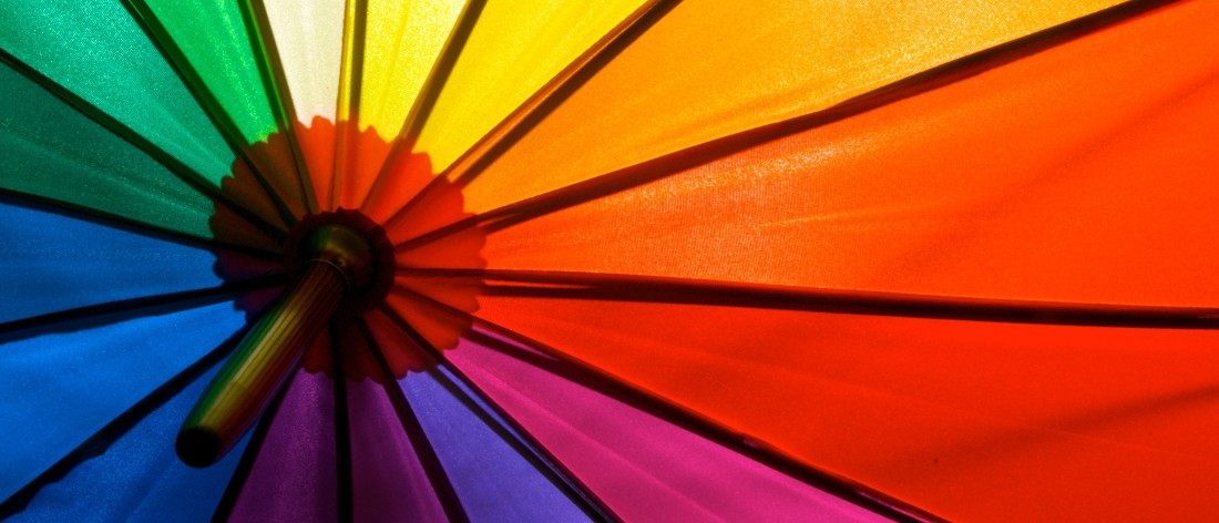 image of a rainbow coloured umbrella